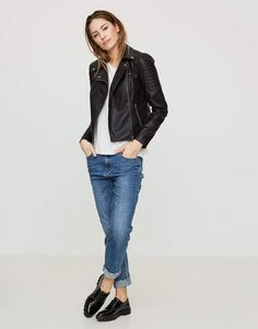 Black Leather Jacket Paired with Skinny Jeans Casual 2017
