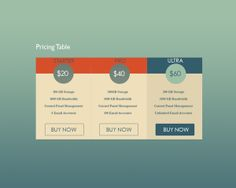 Pricing Table by Connor Murphy, via Behance Connor Murphy, Pricing Table, Banners, Charts, Tables, Behance, Buttons, Digital, Design
