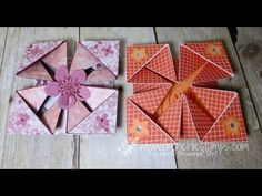 card making video: Peek a Boo triangle Fold . fancy fold demoed by France Martin . Fancy Fold Cards, Folded Cards, Card Tutorials, Video Tutorials, Exploding Box Card, Step Cards, Interactive Cards, Shaped Cards, Card Making Techniques