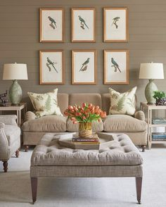 Do Love, Orange Flowers, Great Rooms, Interior Inspiration, Accent Chairs, Gallery Wall, Throw Pillows, Living Room, Bed