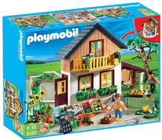 PLAYMOBIL Farm House with Market furnished with eat-in kitchen and bedroom. Vegetables and apples can be harvested. A small animal enclosure and small lake are