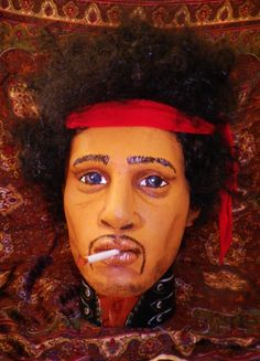 Original Handpainted gothic Jimi Hendrix 60s hippy boho  woodstock Mannequin doll display fashion head.. £65.00, via Etsy.