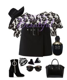 """""""Untitled #3100"""" by princhelle-mack ❤ liked on Polyvore featuring Monique Lhuillier, Givenchy, Off-White, Max&Co., San Diego Hat Co. and Alexander McQueen"""