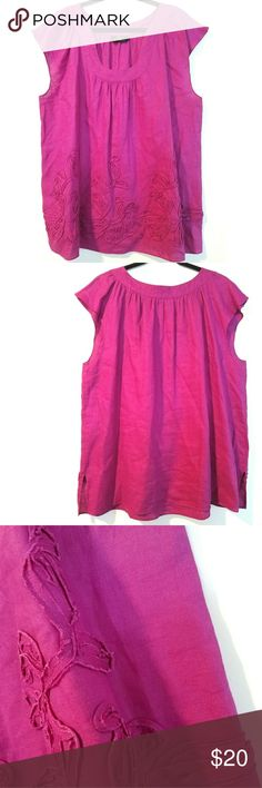 """Trenz by Theresa Renz 2X (18/20) Linen Top This Trenz by Theresa Renz 2X (18/20) Linen Flutter Sleeve Top is in great used condition. Bust measures 26"""" across laying flat measured from pit to pit so 52"""" around. No stretch. Embellished with fabric art at the bottom, for a textured effect. 30"""" long. No size tag. Size is based on measurements. ::: Bundle and save! ::: No trades. Color is a bright purple (like fuchsia-ish purple). Trenz Tops"""