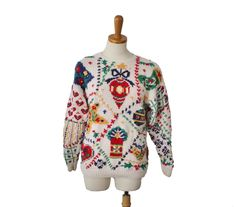 aVintage 90s Signatures by NORTHERN ISLES Tacky Ugly Christmas Sweater - Women Petite Medium by bluebutterflyvintage on Etsy