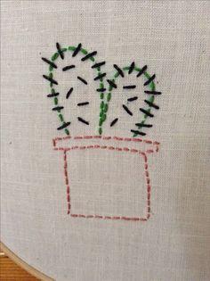 Simple cactus embroidery Pinterest @sarafaithhh