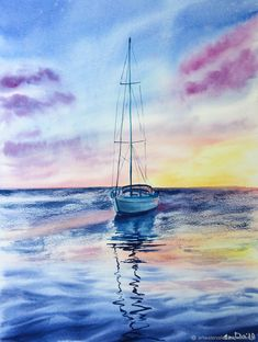 Pictures: Watercolor Sunset on the sea Watercolor Sunset, Watercolor Fashion, Watercolor Landscape, Watercolor Artwork, Cool Easy Drawings, Colorful Drawings, Sea Pictures, Ship Paintings, Watercolor Painting Techniques