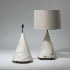 "Pair of medium tapered ""Ava"" Alabaster lamps on brass bases"
