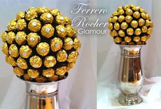 Our Ferrero Rocher GLAMOUR is a beautiful elegant design. 100 Ferrero Rocher sit on top of a beautiful vase. Perfect as a feature on the escort table with the place names or as a feature on any wedding table!    Size: 22 inches Tall...... almost 2 foot!  www.Facebook.com/SweetLivingCandy