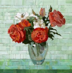 Mosaic flowers by Pavel Martushev, via Behance. This is great - I love the illusion of a glass vase.