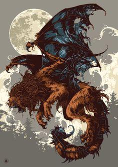 Bestiary / Manticore Framed Art Print by Ivan Belikov - Vector Black - Fantasy Monster, Monster Art, Mythical Creatures Art, Fantasy Creatures, Greek Creatures, Manticore, Wow Art, Creature Concept, Dark Fantasy Art