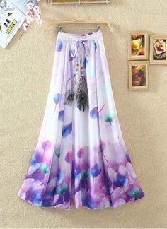 New White & Purple Faux Georgette Printed Skirt Long Skirt And Top, Long Chiffon Skirt, Floral Skirt Outfits, Boho Fashion, Fashion Dresses, Trendy Fall Outfits, Bohemian Skirt, Anarkali Dress, One Piece Dress