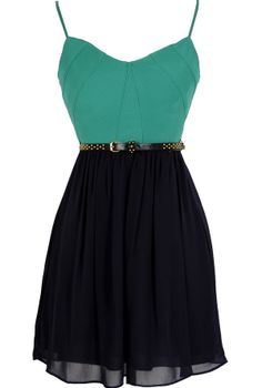 Navy Pier Belted Green and Navy Dress