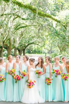 Long Turquoise/Mint/Aqua Bridesmaid Dresses | Colorful Turquoise, Pink + Orange Legare Waring House Wedding by Charleston wedding photographer Dana Cubbage Weddings