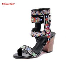 (74.10$)  Buy here  - Stylesowner Rome folk style embroidery shoes sandals female summer leather side zipper open toe high-heeled boots sandal