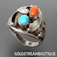 Silver Roy Navajo Native American 925 Silver Coral Turquoise & Bear Claw Feathers Ring - Size 11.75