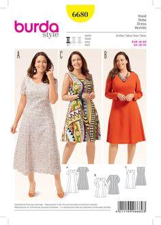 Women S Plus Size Dress Malaysia Simple Short Dresses, Figure Flattering Dresses, Plus Size Patterns, Mode Plus, Dress Sewing Patterns, Apron Patterns, Plus Size Womens Clothing, Knee Length Dresses, Sewing Clothes