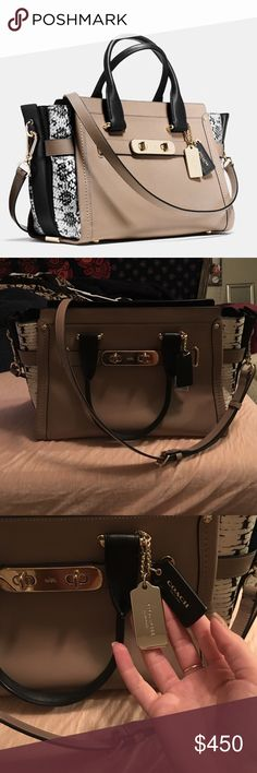 Coach swagger Exotic coach swagger, so beautiful and eye catching! And a perfect size for everything. Comes with dust bag Coach Bags
