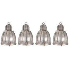 Set of Four Vintage Aluminum Industrial Pendant Lights