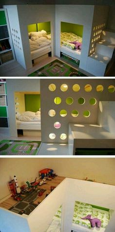 Bed with play area on top