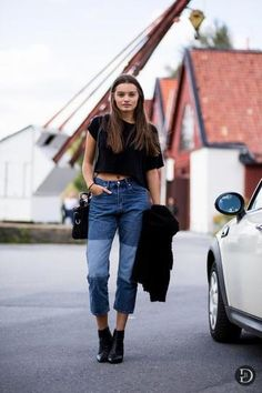 7 ways to spice up a basic black t-shirt - wear a basic black cropped t-shirt with a pair of vintage inspired, high-waisted  boyfriend jeans and flat black ankle boots