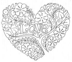 Valentines Day Coloring Pages Printable Valentine Heart - Baliod Heart Coloring Pages, Printable Coloring Pages, Colouring Pages, Adult Coloring Pages, Coloring Books, Embroidery Hearts, Hand Embroidery Patterns, Embroidery Designs, Paper Embroidery