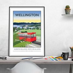 Wellington Cable Car New Zealand Print by Tabitha Mary.   £16.00–£105.00  The famous cable car in Wellington, New Zealand, known for its changing seasons and hills.  I am inspired by the old railway posters, my prints are now available as digital prints, signed Giclee prints both with an option of framing.