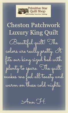 Ann is loving her new Cheston Patchwork Luxury King Quilt and its beautiful colors and the way it fits her bed. You can get yours at https://www.primitivestarquiltshop.com/products/cheston-luxury-king-quilt-bundle-quilt-skirt-and-2-luxury-shams! #primitivecountrybedroomsbeddingandaccessories
