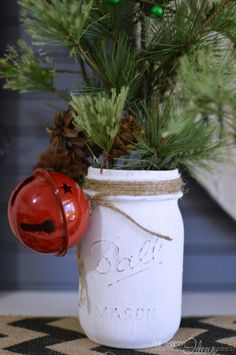 Such an easy and inexpensive DIY christmas decor piece. Full tutorial on OurThri… – Cristmist Decorations Christmas Mason Jars, Rustic Christmas, Winter Christmas, Christmas Holidays, Classy Christmas, Minimalist Christmas, Decorating With Christmas Lights, Xmas Decorations, Mason Jar Christmas Decorations