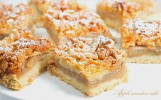 Rhubarb Cheesecake Squares Recipe -It's rhubarb season, so now's the time to try this rich and tangy cheese bar. It's bound to be a hit with the rhubarb lovers you know. Rhubarb Desserts, Rhubarb Recipes, Desserts To Make, Delicious Desserts, Dessert Recipes, Yummy Food, Rhubarb Bars, Rhubarb Rhubarb, Yummy Snacks