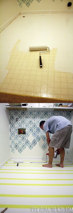 How to Paint Vinyl or Laminate Flooring. I am so going to do this in the front foyer!