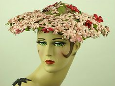Vintage Hat 1950s Beautiful Pink Floral New Look Picture Platter Hat Stunning | eBay