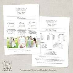 Wedding Photography Pricing List Template Package Guide Price Sheet