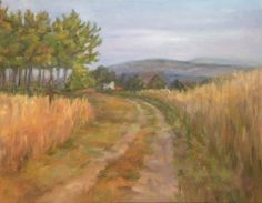 Corn Field Road Oil Painting Landscape Country Sky Clouds, painting by artist Debra Sisson