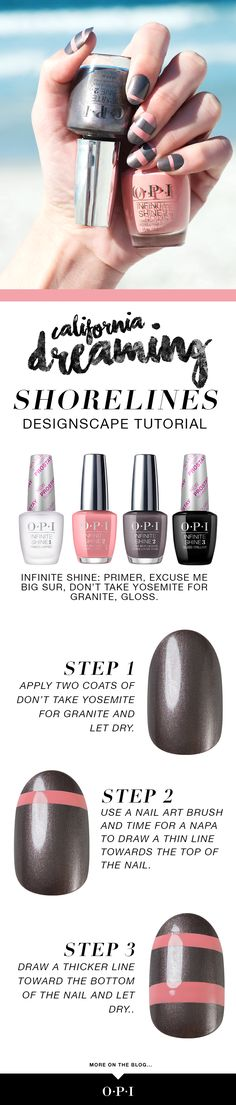 """OPI's California Dreaming collection is now available in Infinite Shine. Let us inspire your summer nails with """"Shorelines,"""" a Cali-inspired nail art using colors from the new California Dreaming collection inspired by the """"Golden State."""" Feel like you're on a road trip to the beach with this perfect for summer #OPICaliforniaDreaming look."""