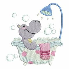 Bath Time Hippo embroidery design