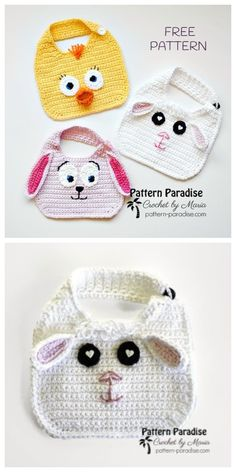 Welcome new lives with these fun Crochet Spring Baby Animal Bibs. I have a lot of free patterns featured for Crochet Heart Blanket, Crochet Baby Bibs, Easy Crochet Hat, Cute Crochet, Crochet Crafts, Baby Knitting, Crochet Projects, Free Knitting, Baby Bibs Patterns