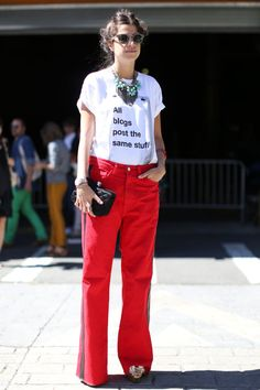 Pin for Later: Your Street Style Field Guide From NYC to Paris New York Fashion Week Leandra Medine outfitted a pair of red jeans with a statement tee.