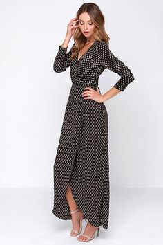 Cute Black Dress - Black Wrap Dress - Long Sleeve Dress - $58.00