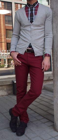 Vito cardigan $80, Vito plaid shirt $110, DL denim in burgundy colour $238 from Gotstyle Menswear.