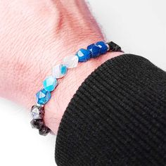 Gliederarmband Edelstahl Armband filigran Achat Perle Schwarz//Wei/ß