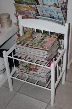 Bejset magasinholder , malet om med Pure hvid x 2-3 gange og haft spærregrunder x 2 inden da, da der var meget farveafsmitning fra det bejsede overflade og vokset med lys AS voks til slut.