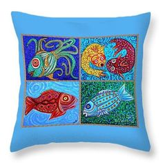 One Fish Two Fish Throw Pillow  http://fineartamerica.com/products/one-fish-two-fish-sarah-loft-thro..  #throwpillows #sarahloft #fish #painting #makebelieve