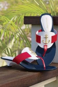Anchors away thong. Perfect for the of July Nautical Looks, Nautical Style, Fashion Shoes, Fashion Accessories, Nautical Fashion, Nautical Outfits, Navy Wife, Sailor Fashion, Blazers