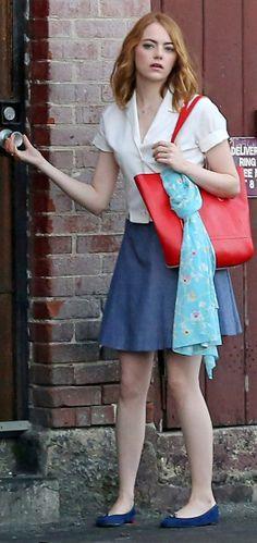 "Emma Stone films ""La La Land"" on Wednesday in Los Angeles."