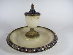 Antique bronze enamel & onyx inkwel : Lot 92