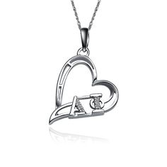 Alpha Phi Heart Silver Lavalier (AP-P008) [AP-P008] - $25.00 : Greek Star