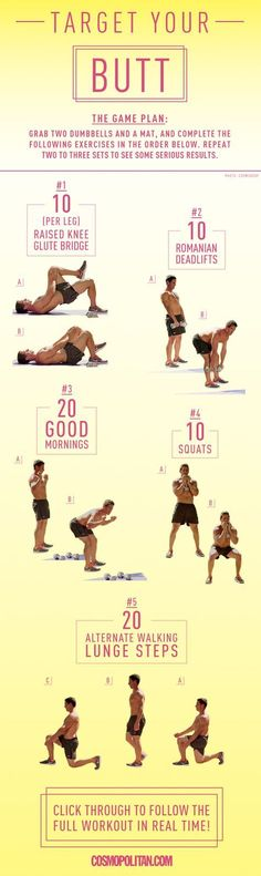 FULL BODY WORKOUT: Instead of covering up your arms, abs, or butt, turn the areas you're least confident about into your best assets. This workout from sexy CosmoBody trainer Don Saladino features targeted moves to get you sculpted. These simple moves that you can do at home or at the gym will get your butt toned in no time. Click through for the full workout instructions and workout video, plus an arms workout and tummy workout guide.