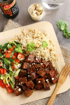 Honey soy tofu - this is the BEST tofu I have ever had anywhere! It's so quick and easy to make, and tastes unbelievable - I made it again two days later! It's sticky, chewy, crispy, sweet, salty... just perfect.