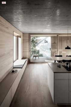 Interior Design Idea – Add a low cabinet along a wall to create a window seat and extra storage storage Home Interior Design, Interior Architecture, Interior Ideas, Interior Styling, Low Cabinet, Timber House, Japanese Interior, Wood Interiors, Minimalist Home